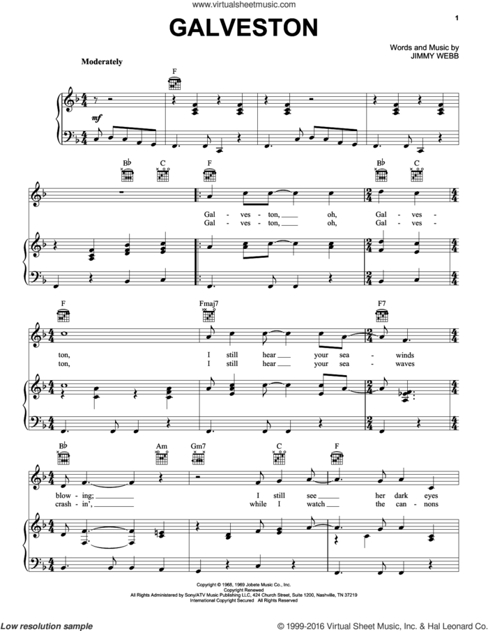 Galveston sheet music for voice, piano or guitar by Glen Campbell and Jim Webb, intermediate skill level