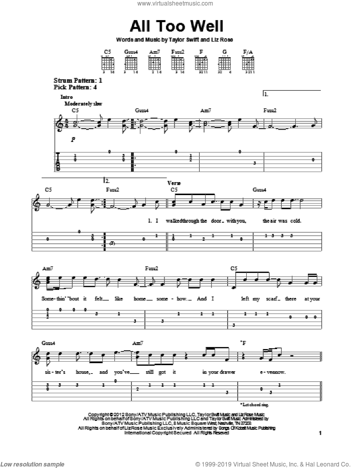 All Too Well sheet music for guitar solo (easy tablature) by Taylor Swift, easy guitar (easy tablature)