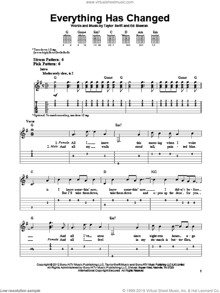 Everything Has Changed (feat. Ed Sheeran) sheet music for guitar solo (easy tablature) by Taylor Swift, easy guitar (easy tablature)