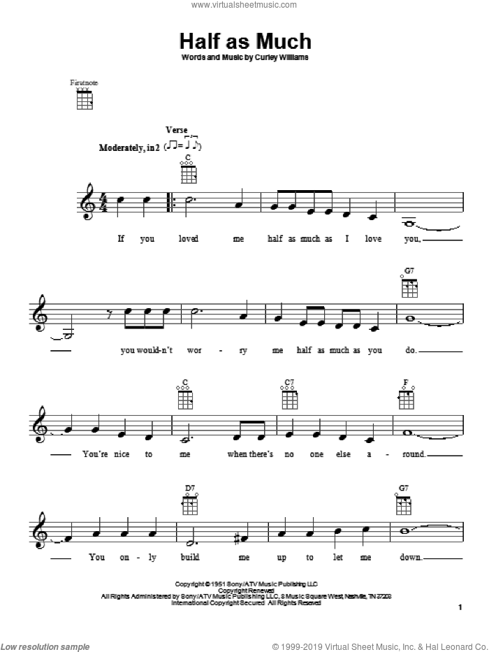 Half As Much sheet music for ukulele by Hank Williams, Curley Williams and Patsy Cline, intermediate skill level