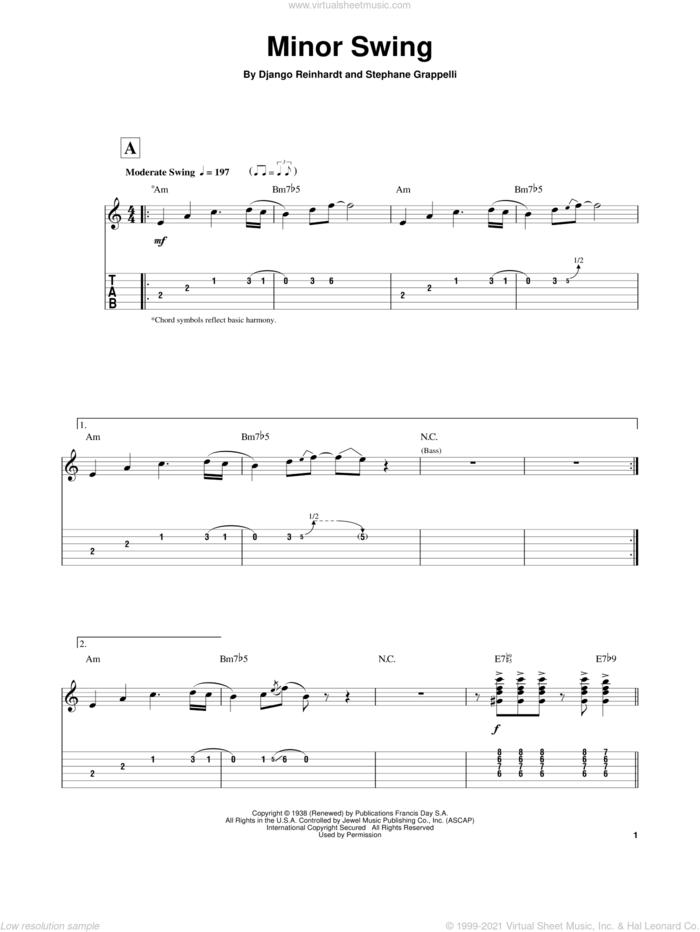Minor Swing sheet music for guitar (tablature, play-along) by Django Reinhardt and Stephane Grappelli, intermediate skill level