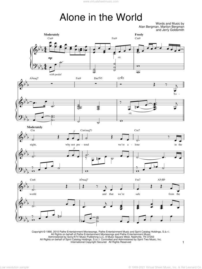 Alone In The World sheet music for voice, piano or guitar by Barbra Streisand, Alan Bergman, Jerry Goldsmith and Marilyn Bergman, intermediate skill level