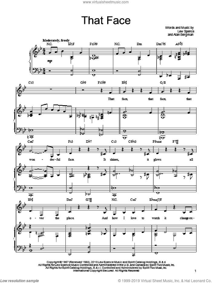 That Face sheet music for voice, piano or guitar by Barbra Streisand, Alan Bergman and Marilyn Bergman, intermediate skill level