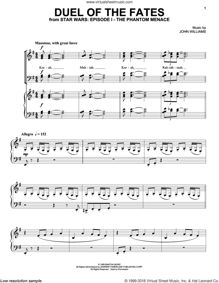 Duel Of The Fates (from Star Wars: The Phantom Menace) sheet music for voice, piano or guitar by John Williams and Star Wars (Movie), intermediate skill level