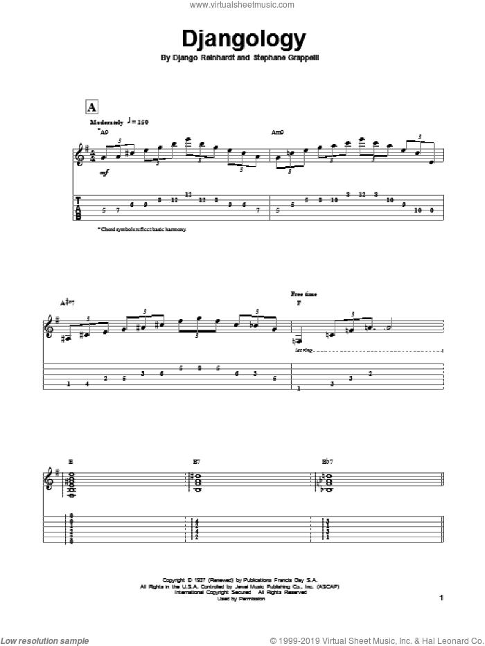 Djangology sheet music for guitar (tablature, play-along) by Django Reinhardt and Stephane Grappelli, classical score, intermediate skill level