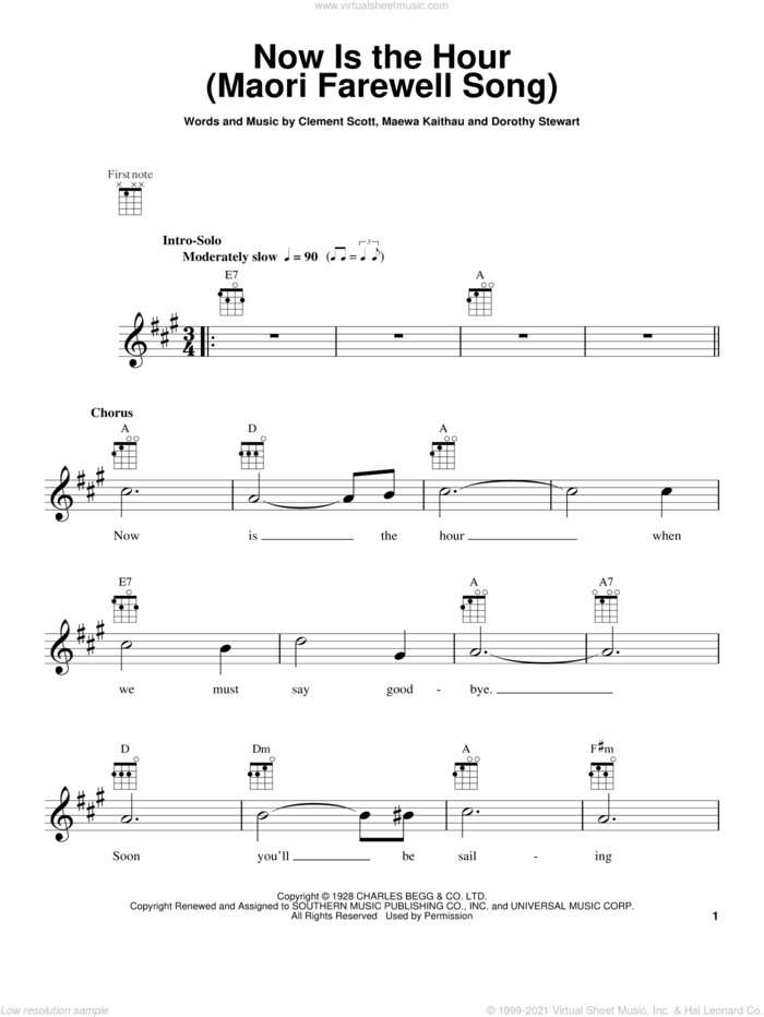 Now Is The Hour (Maori Farewell Song) sheet music for ukulele by Bing Crosby, Clement Scott, Dorothy Stewart and Maewa Kaithau, intermediate skill level