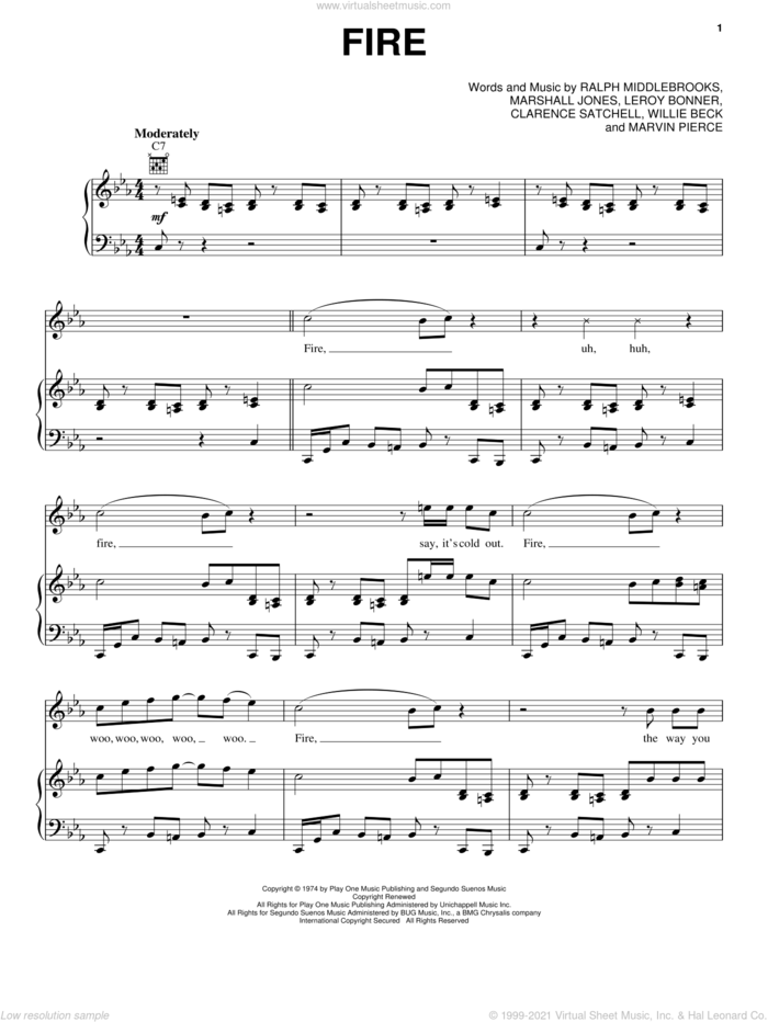 Fire sheet music for voice, piano or guitar by Ohio Players, intermediate skill level