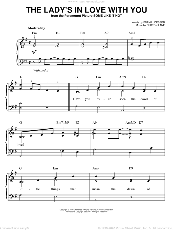 The Lady's In Love With You sheet music for piano solo by Benny Goodman, Burton Lane and Frank Loesser, wedding score, easy skill level