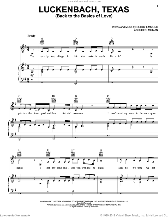 Luckenbach, Texas (Back To The Basics Of Love) sheet music for voice, piano or guitar by Waylon Jennings, Bobby Emmons and Chips Moman, intermediate skill level