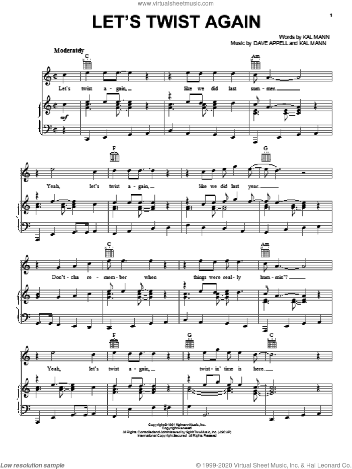 Let's Twist Again sheet music for voice, piano or guitar by Chubby Checker, Dave Appell and Kal Mann, intermediate skill level