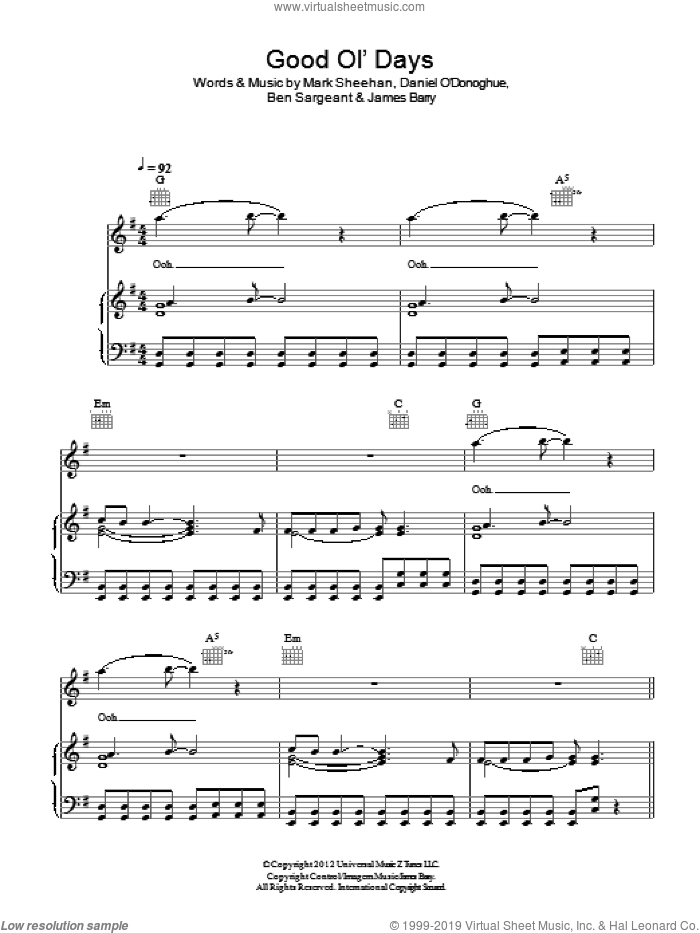 Good Ol' Days sheet music for voice, piano or guitar by The Script, Ben Sargeant, James Barry and Mark Sheehan, intermediate skill level