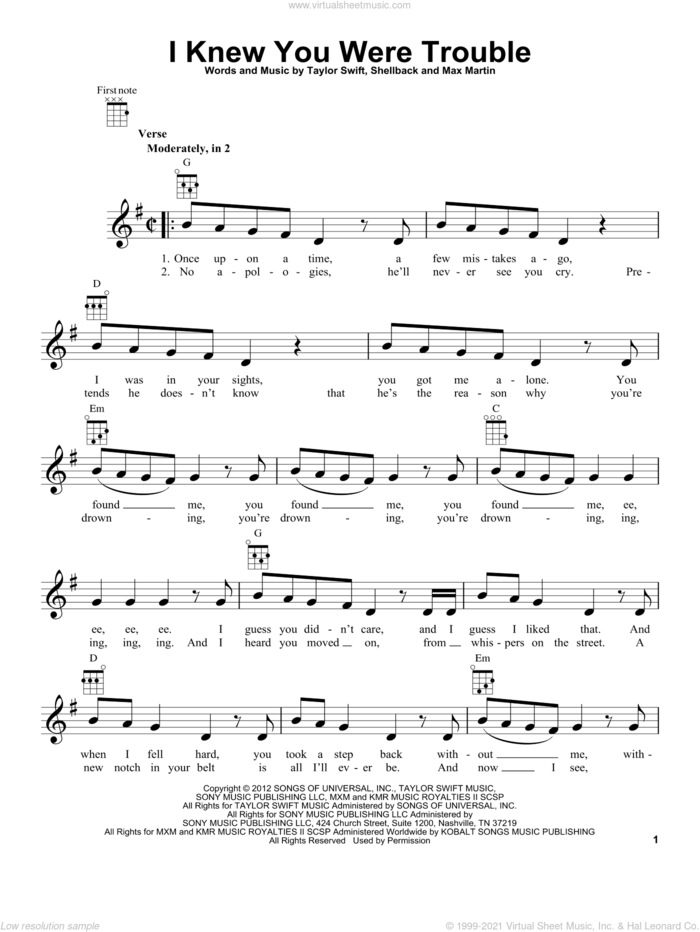 I Knew You Were Trouble sheet music for ukulele by Taylor Swift, Max Martin and Shellback, intermediate skill level