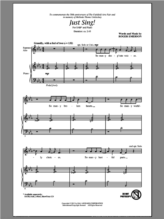 Just Sing sheet music for choir (SAB: soprano, alto, bass) by Roger Emerson, intermediate skill level