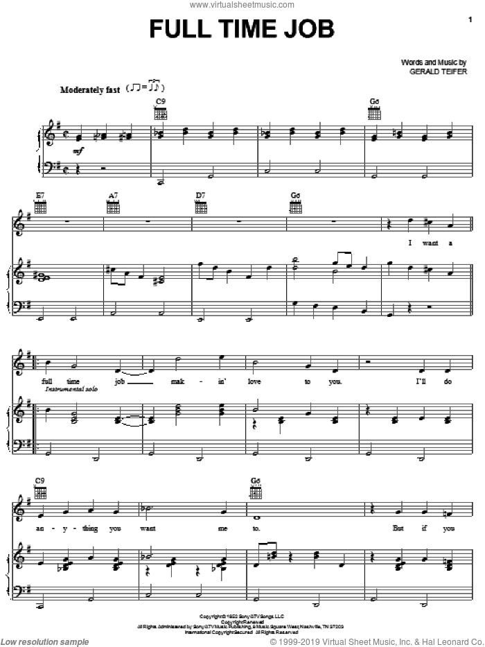 Full Time Job sheet music for voice, piano or guitar by Eddy Arnold and Gerald Teifer, intermediate skill level