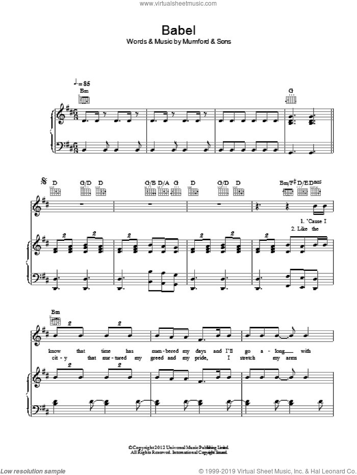 Babel sheet music for voice, piano or guitar by Mumford & Sons, intermediate skill level