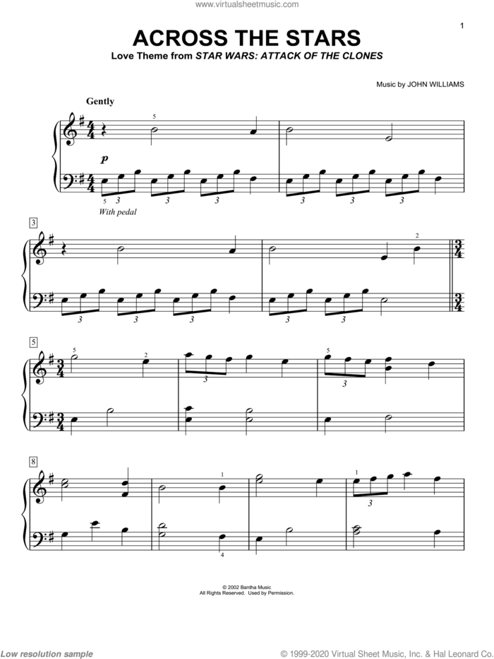 Across The Stars (from Star Wars: Attack of the Clones) sheet music for piano solo by John Williams and Star Wars (Movie), easy skill level