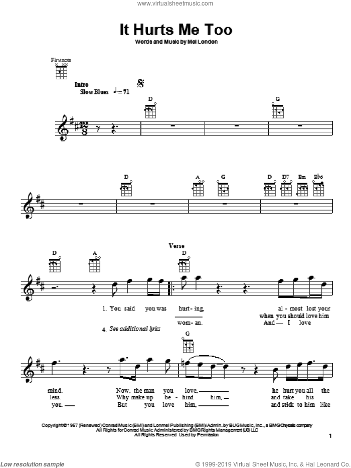 It Hurts Me Too sheet music for ukulele by Eric Clapton, Elmore James and Mel London, intermediate skill level