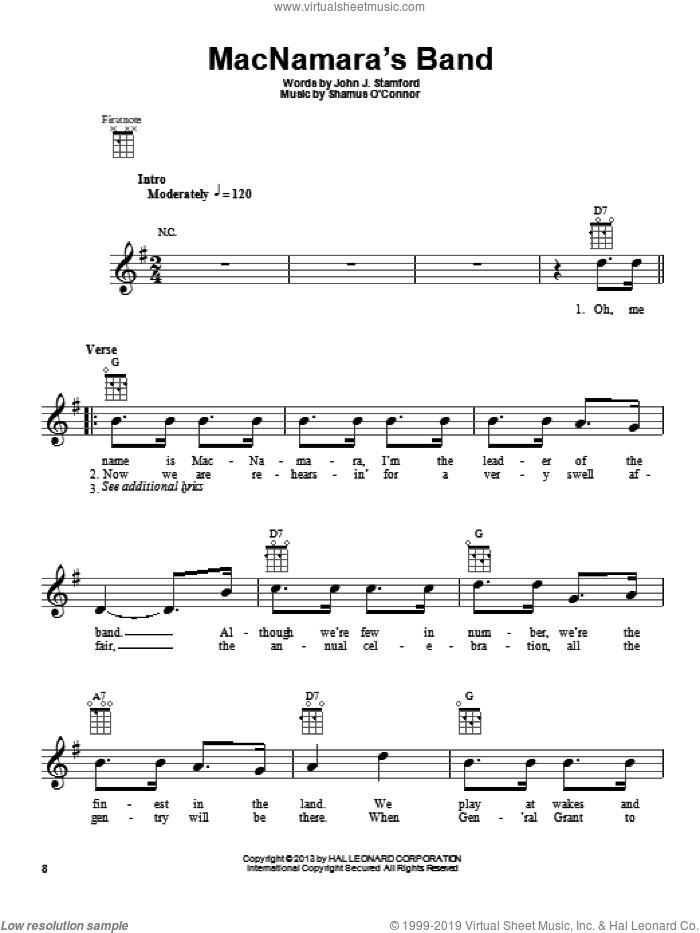 MacNamara's Band sheet music for ukulele by John J. Stamford, intermediate skill level