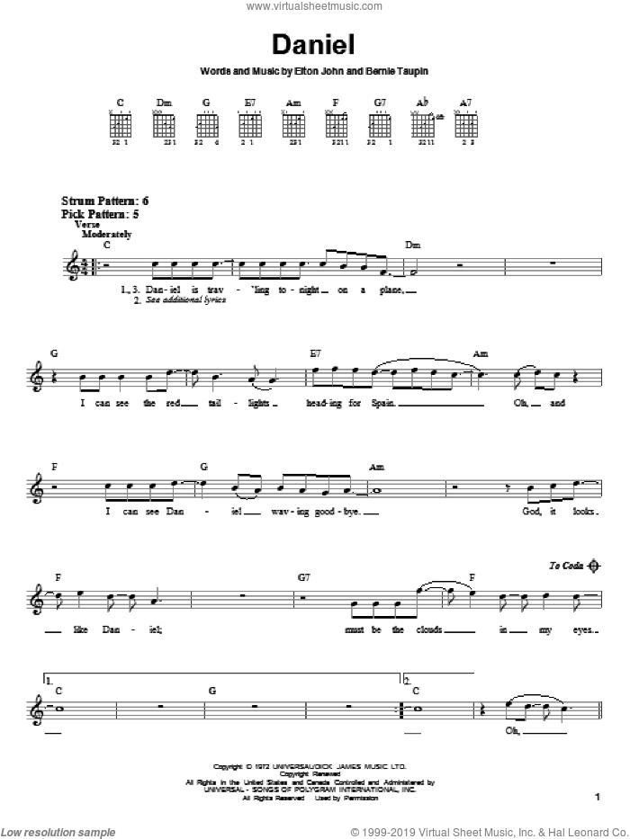 Daniel sheet music for guitar solo (chords) by Elton John and Bernie Taupin, easy guitar (chords)