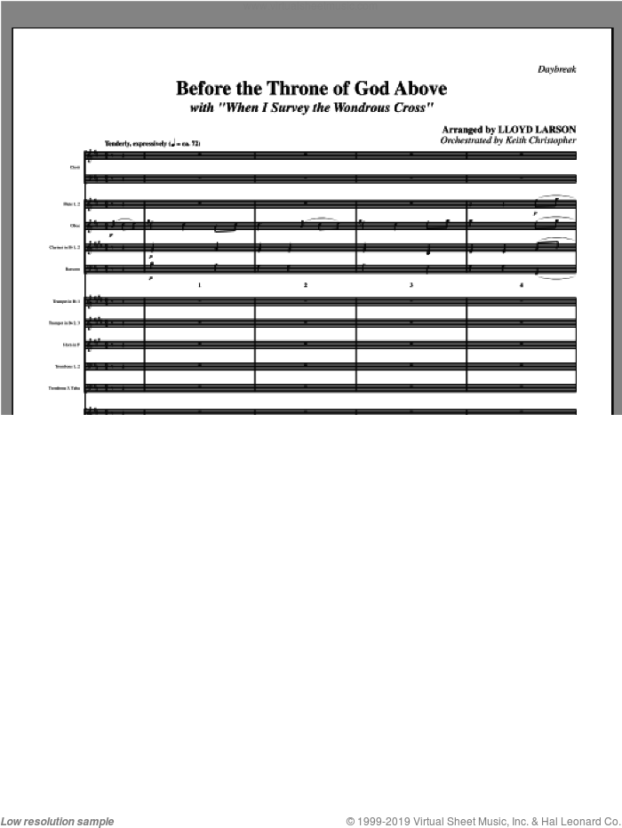 Before The Throne Of God Above (with 'When I Survey The Wondrous Cross') (complete set of parts) sheet music for orchestra/band (Orchestra) by Lloyd Larson, intermediate skill level