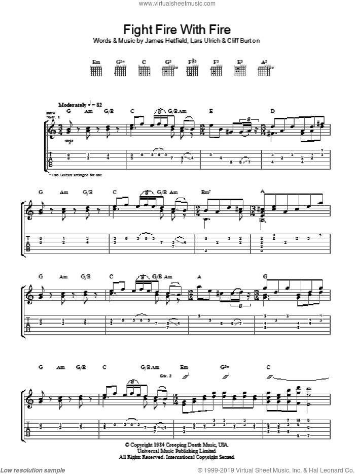 Fight Fire With Fire sheet music for guitar (tablature) by Metallica, Cliff Burton, James Hetfield and Lars Ulrich, intermediate skill level