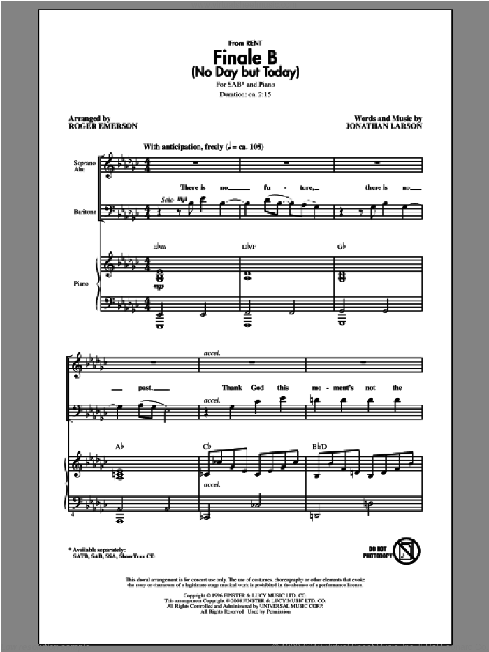 Finale B (No Day But Today) sheet music for choir (SAB: soprano, alto, bass) by Roger Emerson and Jonathan Larson, intermediate skill level