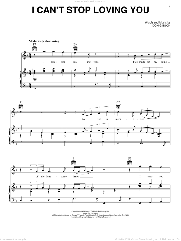 I Can't Stop Loving You sheet music for voice, piano or guitar by Conway Twitty, Don Gibson and Ray Charles, intermediate skill level