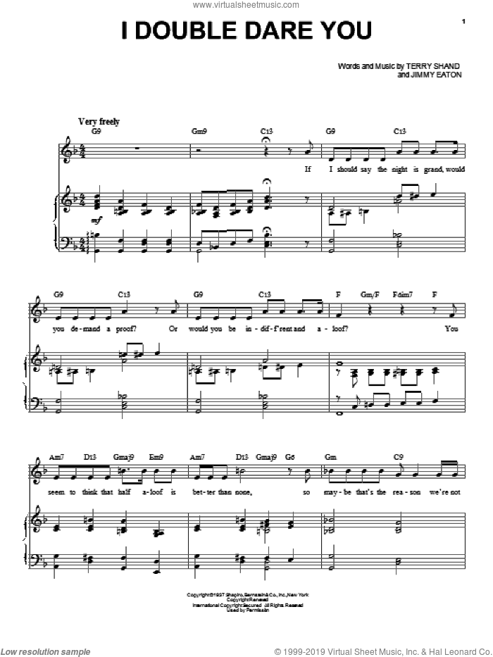 I Double Dare You sheet music for voice and piano by Audra McDonald, Jimmy Eaton and Terry Shand, intermediate skill level