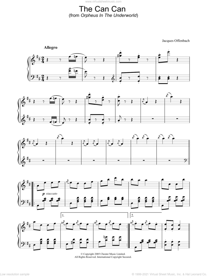 The Can Can (from Orpheus In The Underworld) sheet music for piano solo by Jacques Offenbach, classical score, intermediate skill level