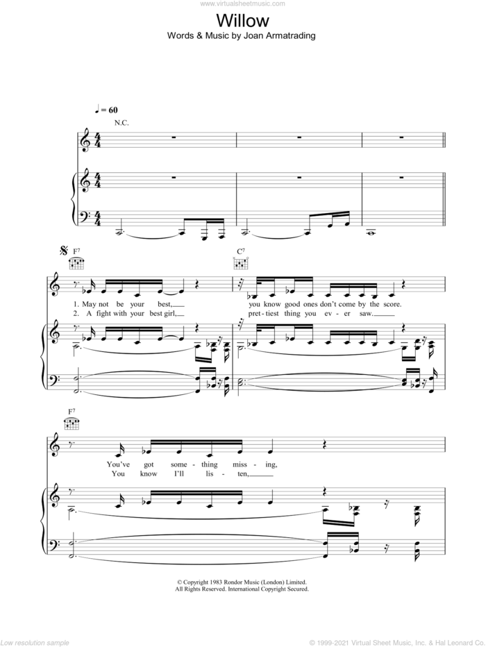 Willow sheet music for voice, piano or guitar by Joan Armatrading, intermediate skill level
