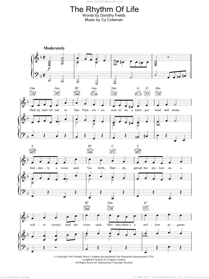 The Rhythm Of Life sheet music for voice, piano or guitar by Cy Coleman and Dorothy Fields, intermediate skill level