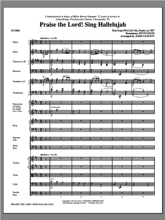 Praise The Lord! Sing Hallelujah (COMPLETE) sheet music for orchestra/band by John Leavitt, intermediate skill level