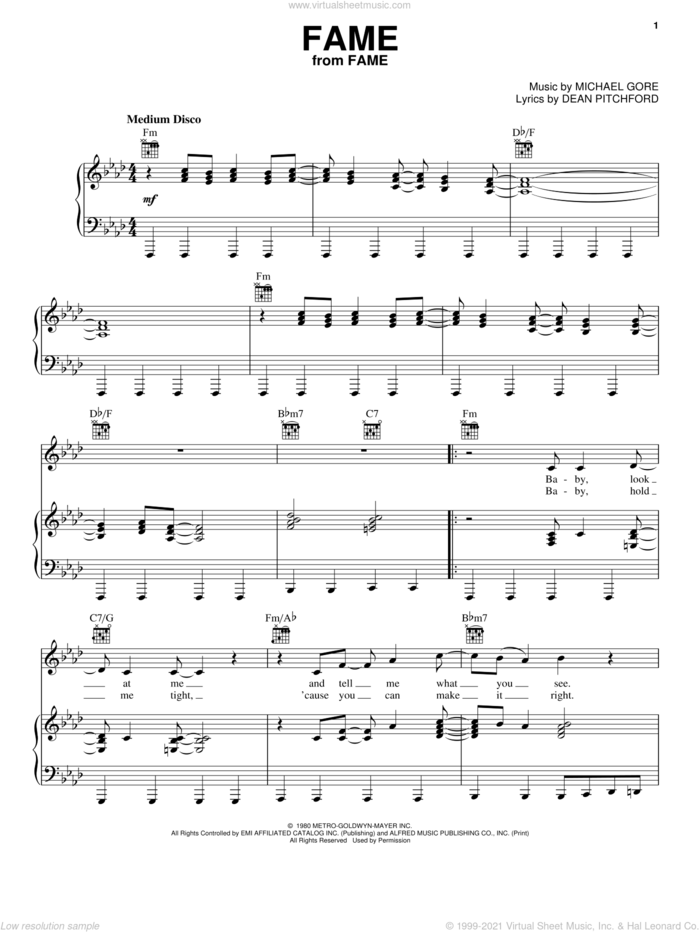 Fame sheet music for voice, piano or guitar by Irene Cara, Dean Pitchford and Michael Gore, intermediate skill level