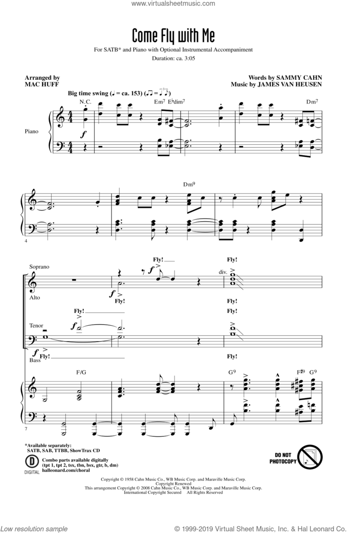 Come Fly With Me sheet music for choir (SATB: soprano, alto, tenor, bass) by Frank Sinatra, Jimmy van Heusen, Mac Huff and Sammy Cahn, intermediate skill level