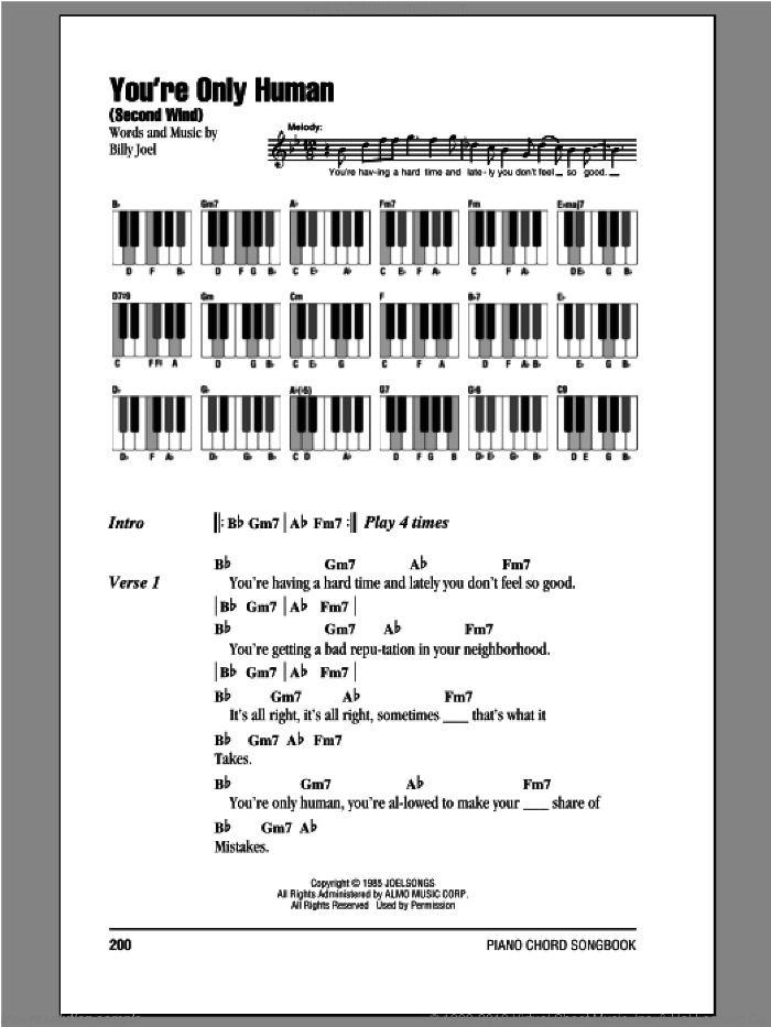 You're Only Human (Second Wind) sheet music for piano solo (chords, lyrics, melody) by Billy Joel, intermediate piano (chords, lyrics, melody)