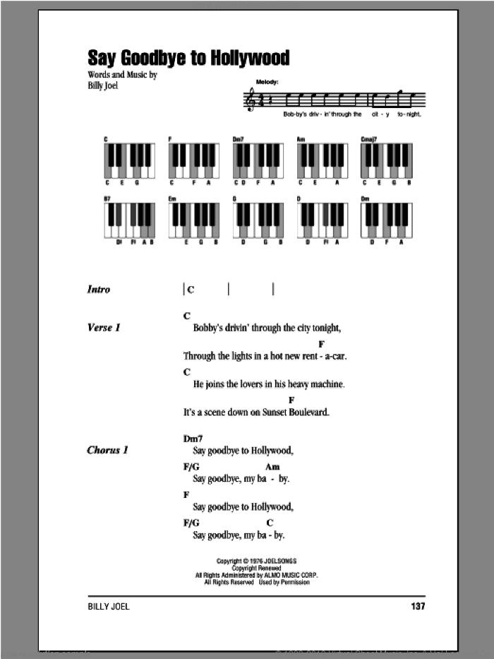 Say Goodbye To Hollywood sheet music for piano solo (chords, lyrics, melody) by Billy Joel, intermediate piano (chords, lyrics, melody)
