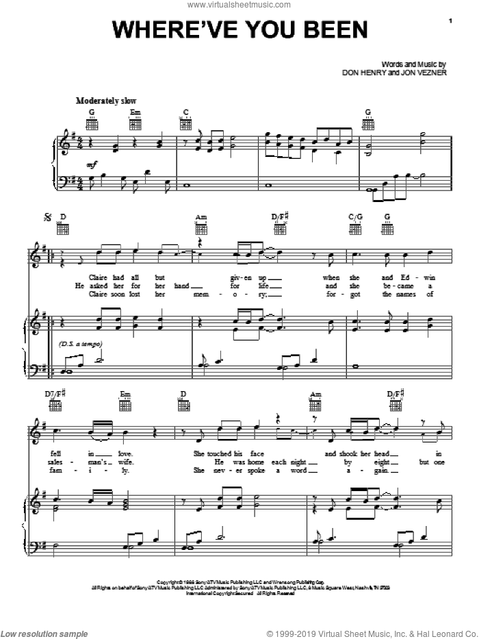Where've You Been sheet music for voice, piano or guitar by Kathy Mattea, Don Henry and Jon Vezner, intermediate skill level