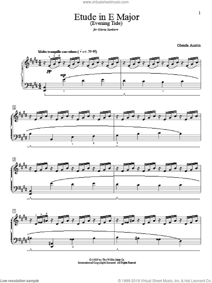 Etude In E Major (Evening Tide) sheet music for piano solo (elementary) by Glenda Austin, beginner piano (elementary)