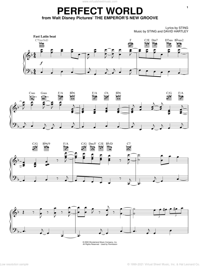 Perfect World sheet music for voice, piano or guitar by Sting, Tom Jones and David Hartley, intermediate skill level