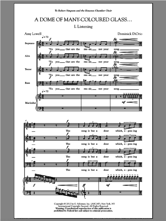 A Dome Of Many-Coloured Glass sheet music for choir (SATB: soprano, alto, tenor, bass) by Dominick Diorio and Amy Lowell, classical score, intermediate skill level