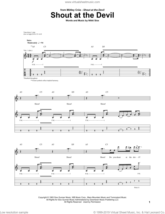 Shout At The Devil sheet music for guitar (tablature) by Motley Crue and Nikki Sixx, intermediate skill level