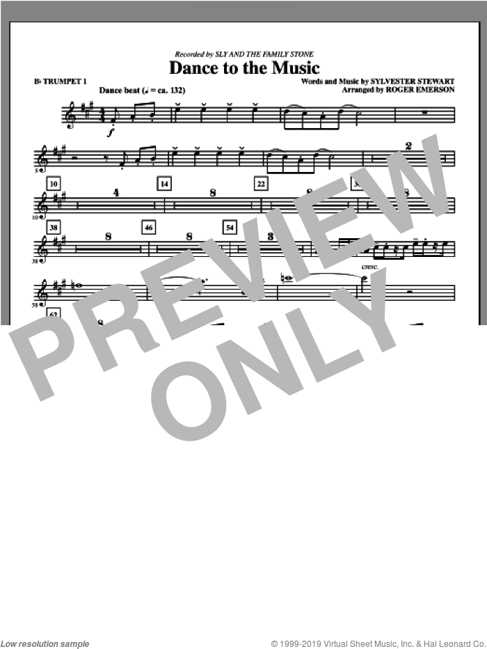 Dance To The Music sheet music for orchestra/band (Bb trumpet 1) by Sly And The Family Stone and Sylvester Stewart, intermediate skill level