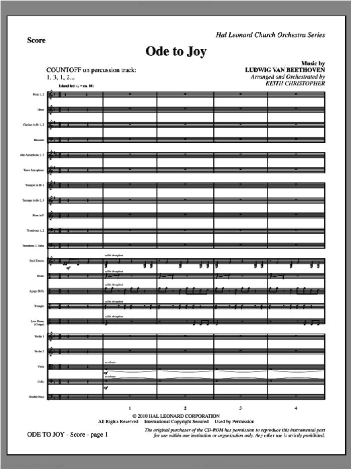 Ode To Joy (COMPLETE) sheet music for orchestra/band (Orchestra) by Ludwig van Beethoven, Henry van Dyke and Keith Christopher, classical score, intermediate skill level
