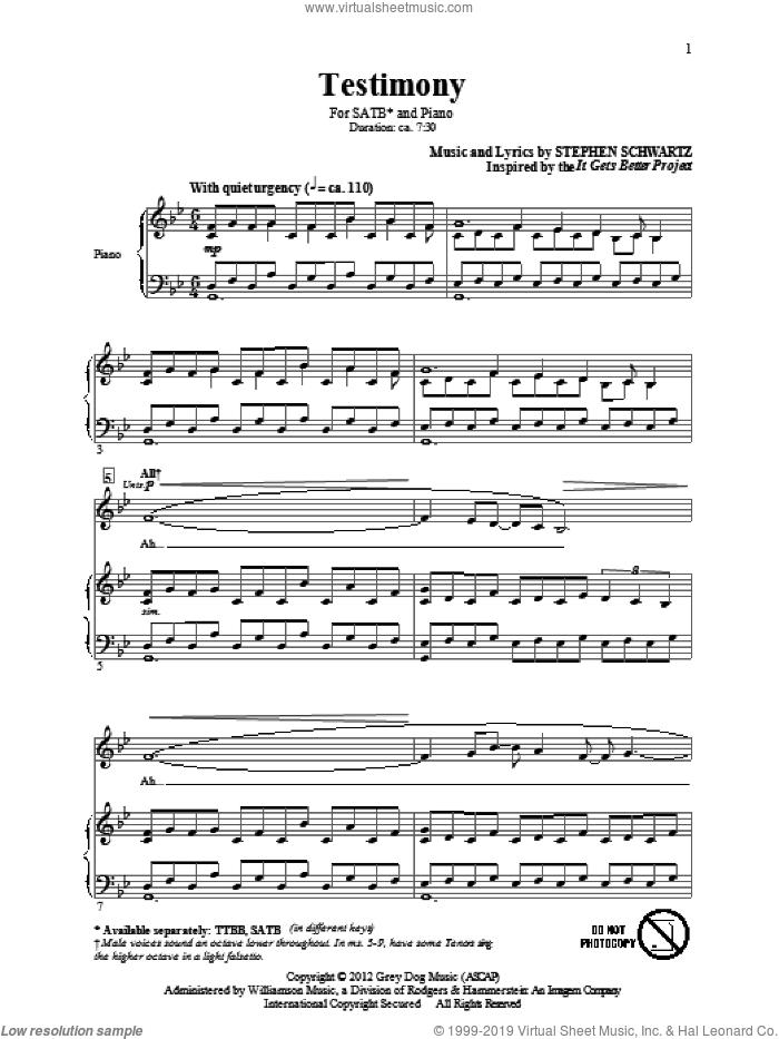 Testimony sheet music for choir (SATB: soprano, alto, tenor, bass) by Stephen Schwartz, intermediate skill level