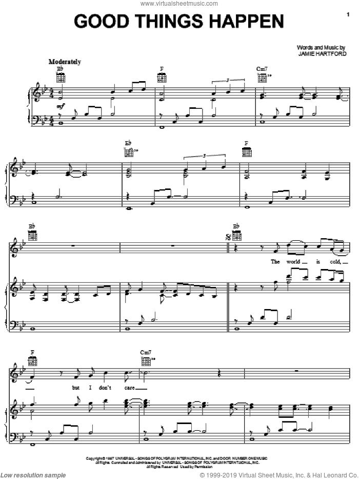 Good Things Happen sheet music for voice, piano or guitar by Dierks Bentley and Jamie Hartford, intermediate skill level