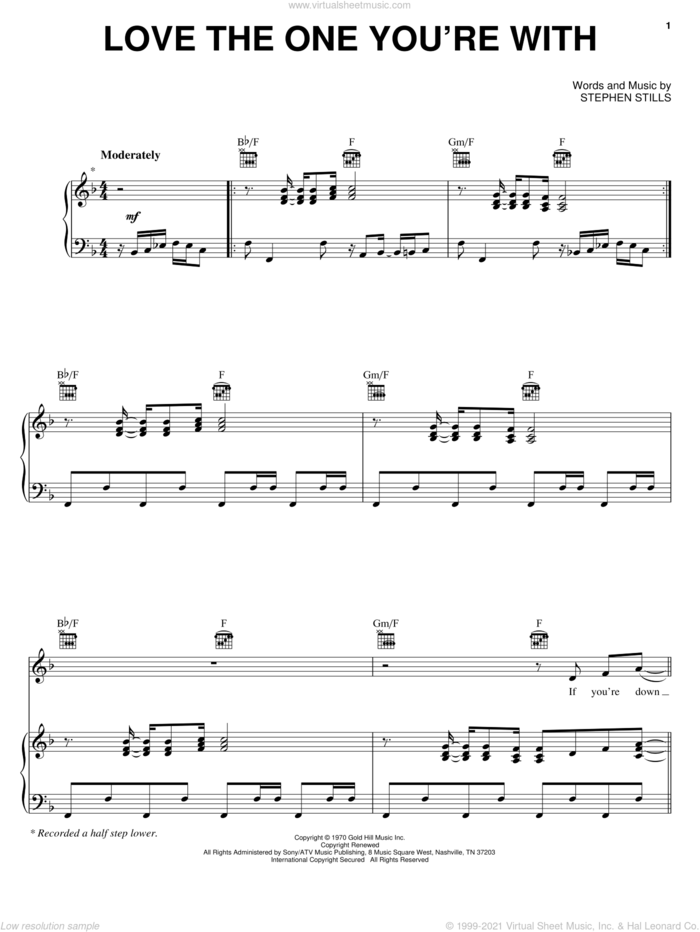 Love The One You're With sheet music for voice, piano or guitar by The Isley Brothers, Crosby, Stills & Nash and Stephen Stills, intermediate skill level