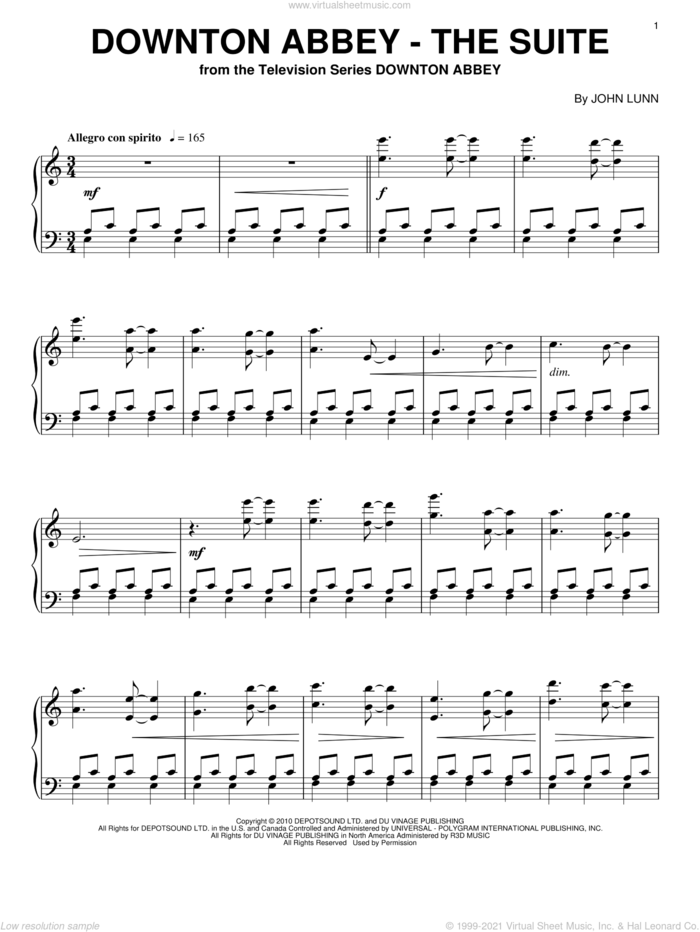 Downton Abbey - The Suite sheet music for piano solo by John Lunn and Downton Abbey (TV Show), intermediate skill level