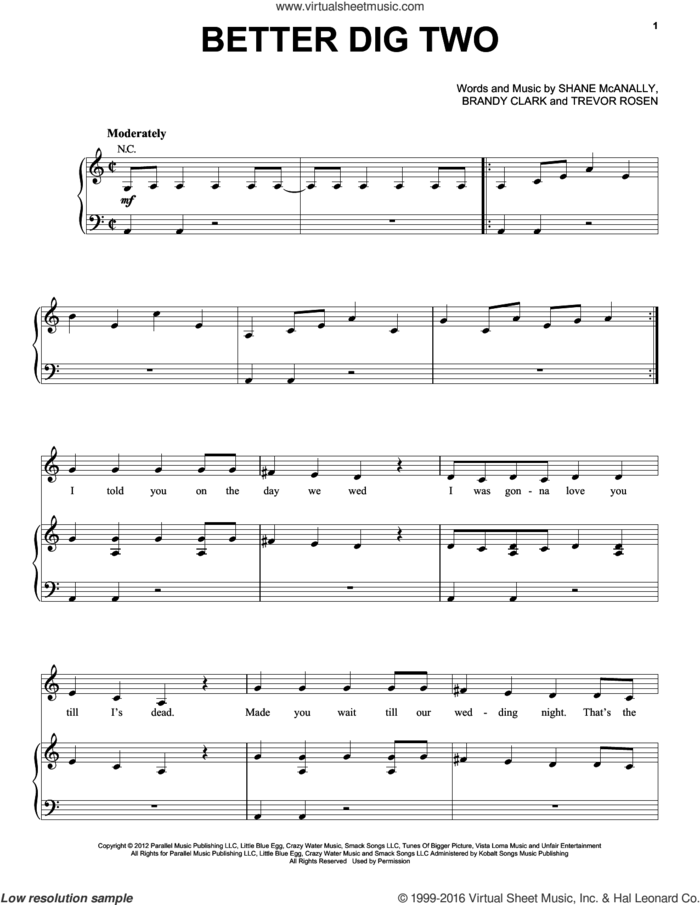 Better Dig Two sheet music for voice, piano or guitar by The Band Perry, Brandy Clark, Shane McAnally and Trevor Rosen, intermediate skill level