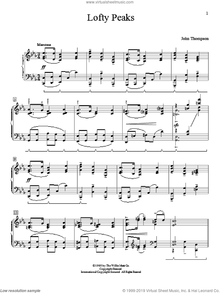 Lofty Peaks sheet music for piano solo (elementary) by John Thompson, beginner piano (elementary)