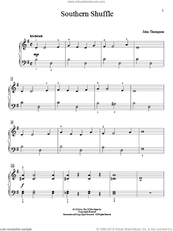 Southern Shuffle sheet music for piano solo (elementary) by John Thompson, beginner piano (elementary)